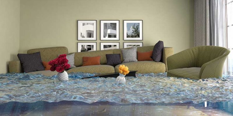 living room flooded