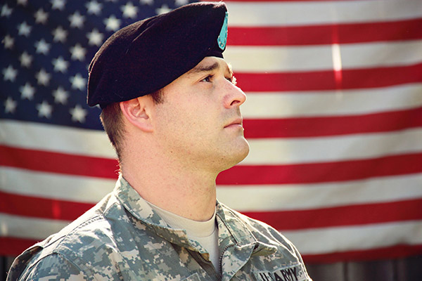 army soldier and US flag