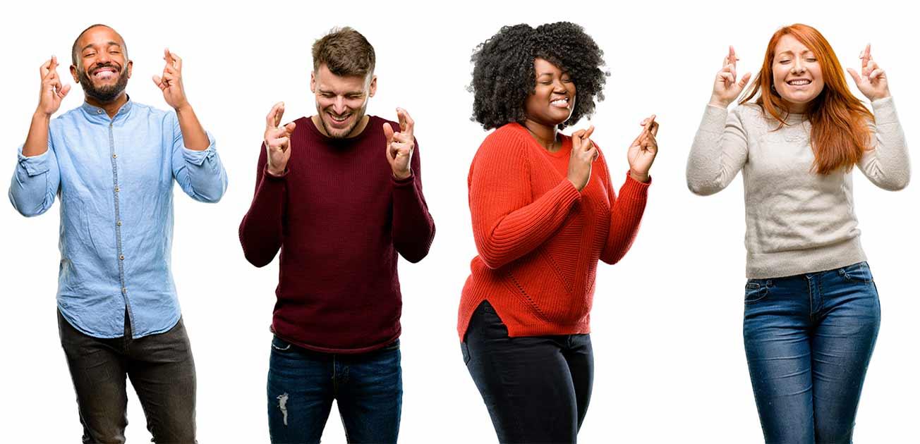 People crossing their fingers - hoping