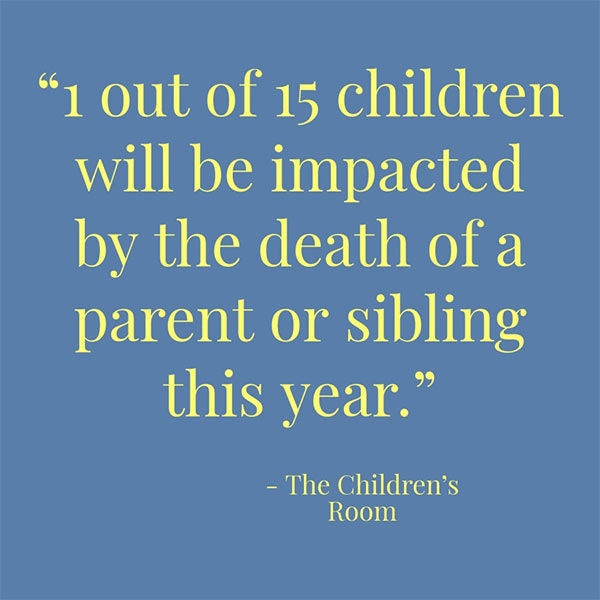 1 out os 15 children will be impacted by deat of a parent or sibling this year.