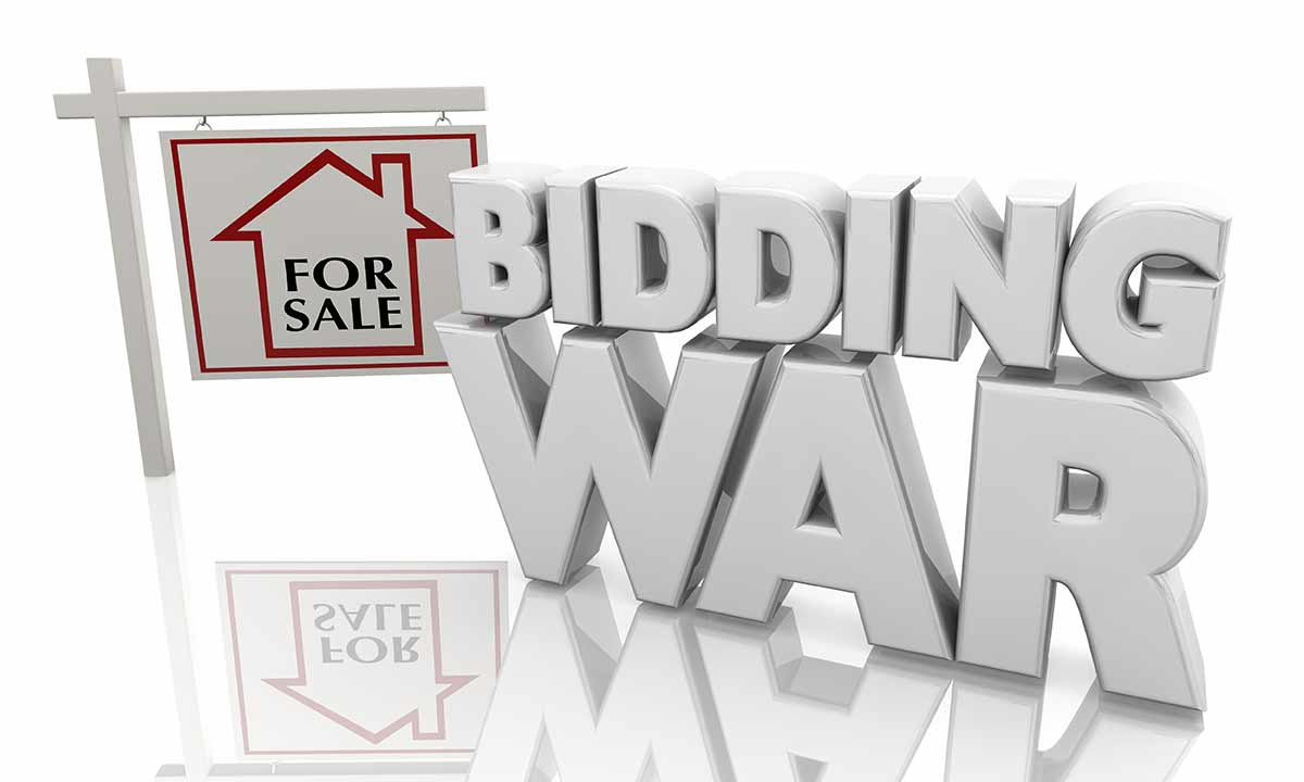 For sale sign and text: Bidding War